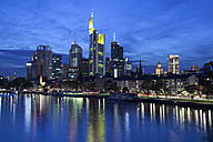 Germany, Hesse, Frankfurt, Skyline with River Main at night - WI000435