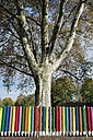 Germany, North Rhine-Westphalia, Duesseldorf-Niederkassel, coloured fence of kindergarten - VI000232