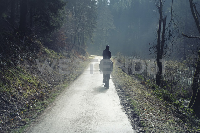 Germany, North Rhine-Westphalia, Bergisches Land, Rhein-Sieg-Kreis, lonely rider on forest track, view from the back - ONF000409