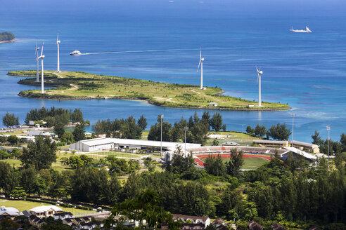 Seychelles, Mahe, Victoria, Soccer stadium and wind turbines - WEF000028