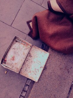 Tin with money on a Street, Munich, Bavaria, Germany - RIM000135