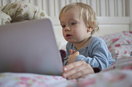 Toddler looking at digital tablet - MUF001447