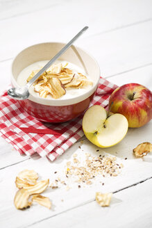 Bowl of lactose-free yogurt with dried apple rings and and apples on white wooden table - MAEF008084
