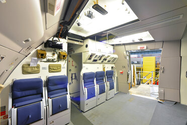Interior of an unfinished airplane in a hangar - SCH000012