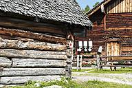 Austria, Salzburg State, Untertauern, Pongau, alpine cabin with milk churns and stable - HHF004756