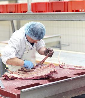 Worker in a factory preparing meat - SCH000063