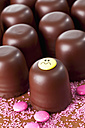 Chocolate marshmallows, one decorated with smiley face, pink sugar and chocolate drops in front - CSF020940