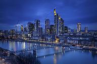 Germany, Hesse, Frankfurt, Skyline with River Main, blue hour - MPA000013