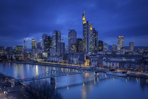 Germany, Hesse, Frankfurt, Skyline with River Main, blue hour - MPA000013