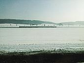 Train in winterly landscape, near Goettingen, Lower Saxony, Germany - MS003469