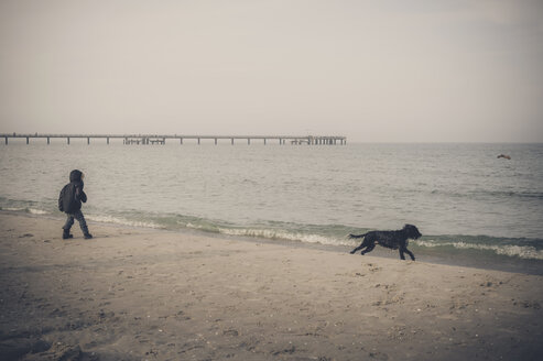 Germany, Mecklenburg-Western Pomerania, Ruegen, little boy playing with dog on beach in winter - MJ000959