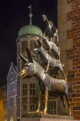 Germany, Bremen, Sculpture of the Bremen city minstrels - NKF000064