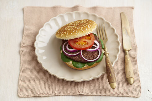 Burger with mincemeat, tomato, lamb's lettuce and red onions on plate - ECF000462