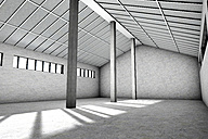 Architecture visualization of an empty industrial building, 3D Rendering - SPCF000019