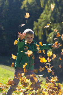 Little boy throwing autumn leaves in park - SARF000364