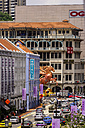 Singapore, Chinatown, view to row of old buildings along a street - THA000141