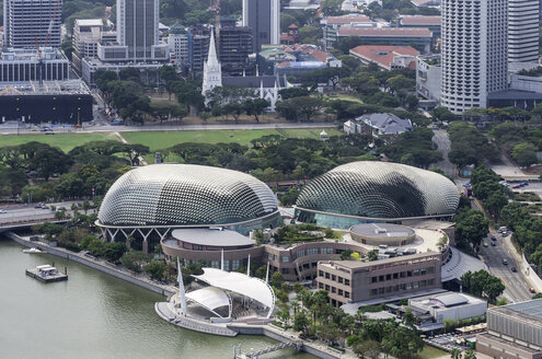 Asia, Singapore, View from Marina Bay Hotel to Downtown Core and Esplanade Theatres - THA000148