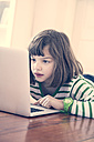 Portrait of little girl using laptop at home - LVF000901