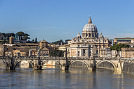 Italy, Rome, St. Peter's Basilica seen from Ponte Sant'Angelo - EJWF000380