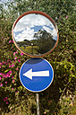 Portugal, One way street sign and mirror - ONF000491