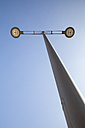 Street lamp in front of blue sky, view from below - WIF000501