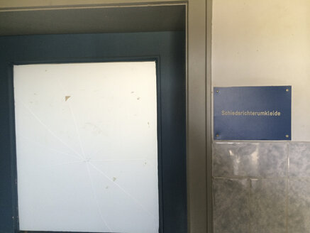Door of the referee changing room, Munich, Germany - FL000409