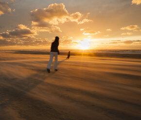 Denmark, Jutland, Lokken, mother trying to catch her child on stormy beach at sunset - JBF000071
