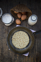 Pancake in frying pan and ingredients, eggs, milk and flour - LVF000885