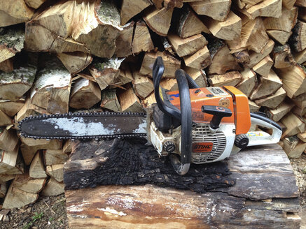 Chainsaw with gloves before woodpile, Konstanz, Baden-Wuerttemberg, Germany - JED000156