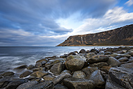 Scandinavia, Norway, Lofoten, rocks and waves at the coastline of Unstad - STSF000364