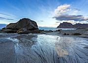 Scandinavia, Norway, Lofoten, rocks in sundown, coastline at Utakleiv - STSF000367