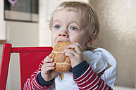 Germany, Baby boy eating bread roll - MUF001463