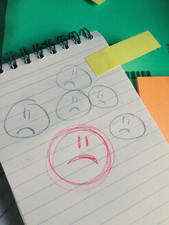 Sad Smiley on paper in office - MEAF000222