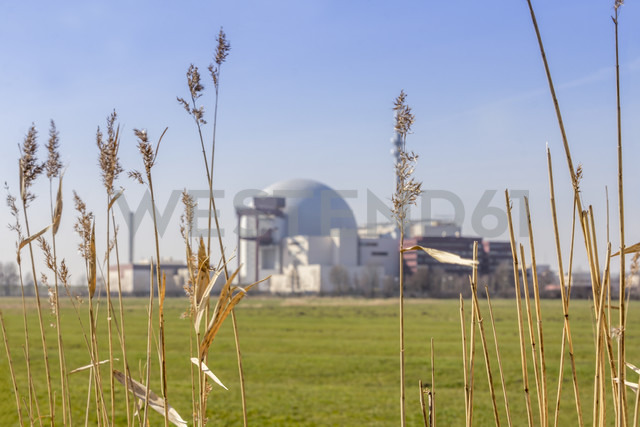 Germany, Schleswig-Holstein, Brokdorf, grasses and nuclear power plant in the background - NKF000074 - Stefan Kunert/Westend61