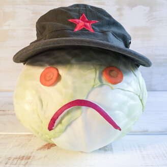 Cabbage as Smiley with Vietnamese hat - DRF000609