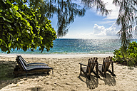 Seychelles, Northern Coral Group, Denis Island, Beach and sun loungers - WEF000052