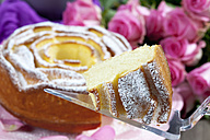 Slice of birthday cake on cake server, roses in background - CSF021124