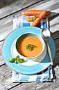 Carrot soup in soup bowl - MAEF008299