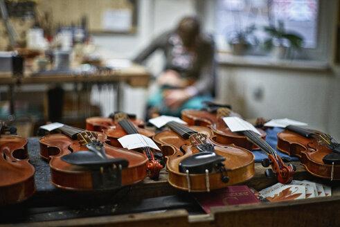 Violins to be repaired in a violin maker's workshop - DIKF000089