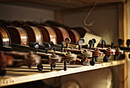 Violins to be repaired in a violin maker's workshop - DIKF000098