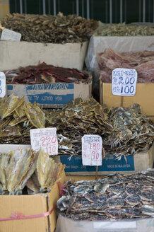 Thailand, Bangkok, Dried fish at market stall - AS005316