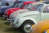 Germany, Hesse, Muehlheim, vintage car rally, row of old VW beetles - JWA000026