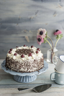 Black Forest Cake on blue cake stand in front of grey background - IPF000096