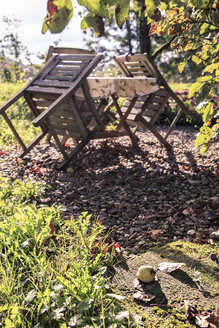 Germany, Bavaria, Coburg, View of garden with table and chairs in autumn - VTF000199