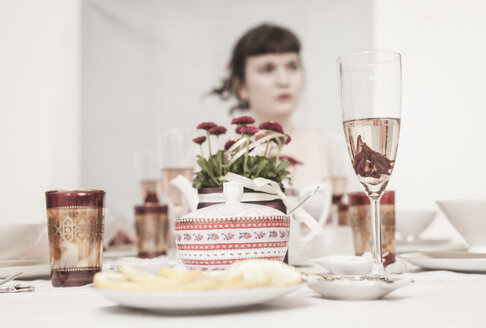 Young woman on a retro style tea party - DISF000728