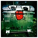 Dumpster with graffiti face, Wuppertal, Germany - DWI000010