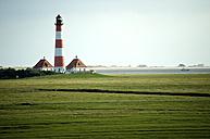 Germany, Schleswig-Holstein, North Sea Coast, View of Westerheversand Lighthouse - JEDF000182