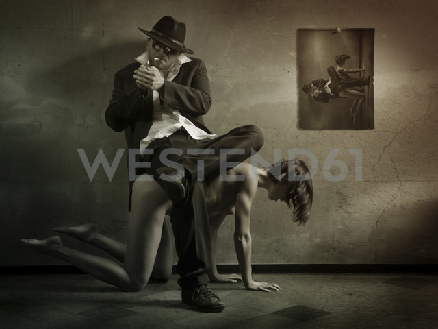 Man sitting on back of nude woman - CvK000138