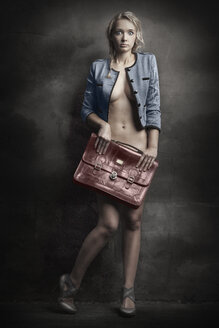 Semi-nude blond young woman holding briefcase - CvK000135