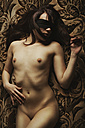 Blindfloded female nude lying - CvK000122